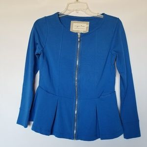 Evy's tree zip up peplum blue top size small